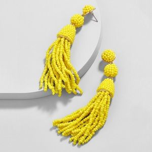 Granita Beaded Tassel Earrings Chartreuse